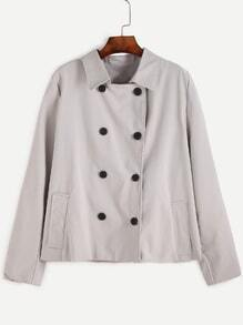 Light Grey Double Breasted Pocket Coat