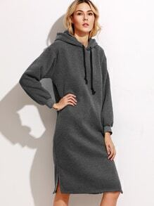 Dark Grey Hooded Slit Side Drawstring Sweatshirt Dress