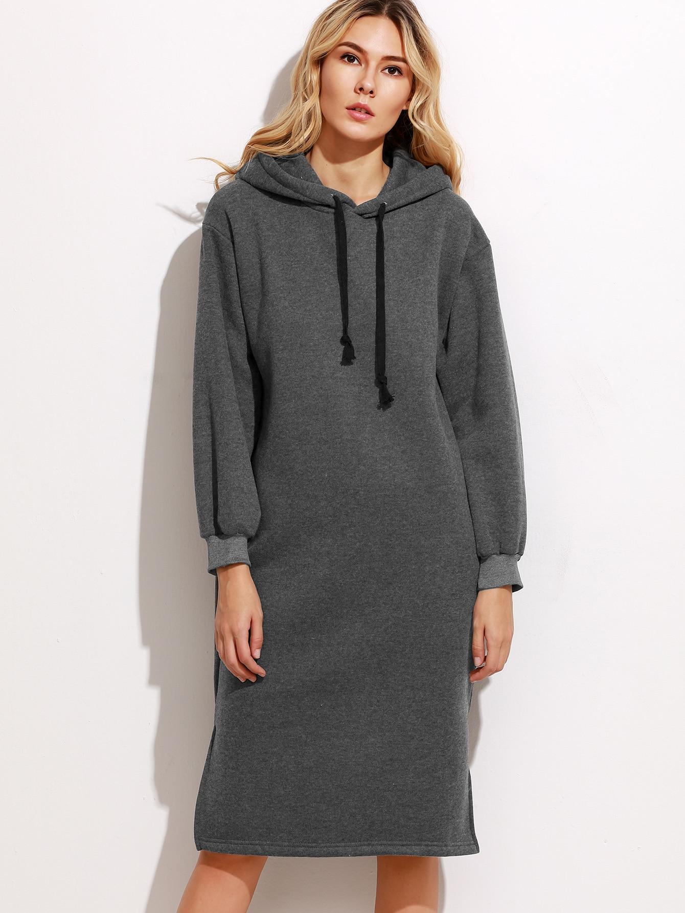 robe sweat shirt fendu avec capuche gris fonc french romwe. Black Bedroom Furniture Sets. Home Design Ideas