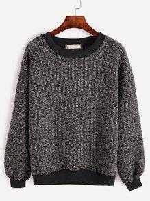 Contrast Trim Ribbed Sweatshirt