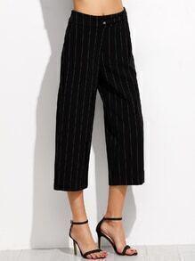 Black Vertical Striped Wide Leg Pants