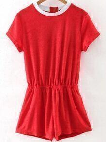 Red Contrast Neck Elastic Waist Romper