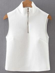 White Mock Neck Zipper Up Crop top