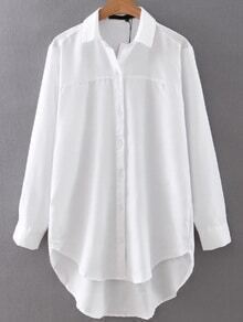 White Button Up High Low Blouse