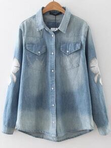 Blue Embroidery Sleeve High Low Denim Blouse