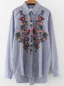 Blue Vertical Striped Flower Embroidery Dip Hem Blouse