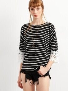 Black Striped Crochet Cuff Tie Top