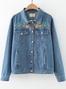 Blue Flower Embroidery Button Denim Jacket