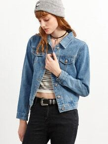 Blue Flower Embroidery Denim Jacket