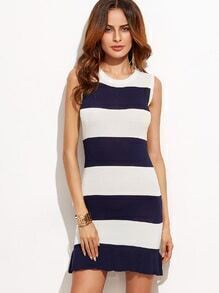 Navy Striped Sleeveless Ruffle Hem Knit Dress