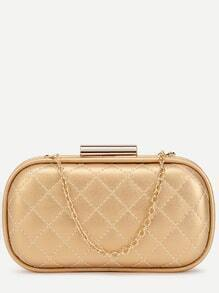 Golden Quilted PU Evening Bag
