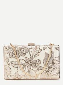 White Floral Sequin PU Evening Bag