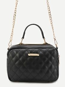 Black Quilted PU Handbag With Gold Chain