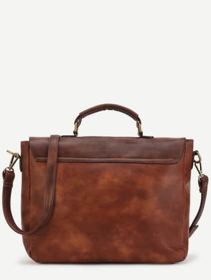 Color Block PU Studded Satchel Bag