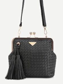 Black Woven PU Tassel Trim Crossbody Bag