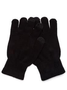 Black Knit Telefingers Gloves