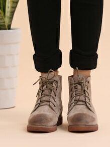 Khaki Genuine Leather Distressed Oxford Boots