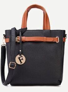 Black Pebbled PU Buckle Strap Handbag With Shoulder Strap