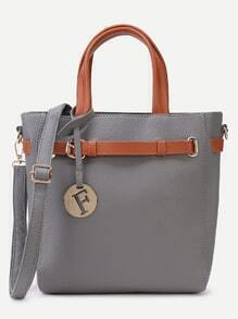 Grey Pebbled PU Buckle Strap Handbag With Shoulder Strap