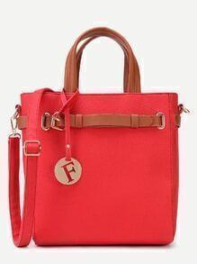Red Pebbled PU Buckle Strap Handbag With Shoulder Strap