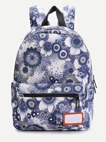 Moonlit Floral Front Zipper Nylon Backpack