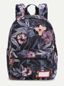 Black Floral Front Zipper Nylon Backpack