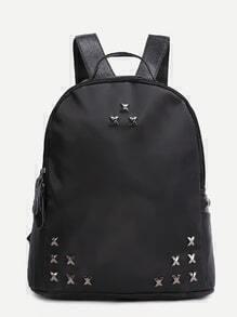 Black PU Metal Trim Zip Closure Backpack