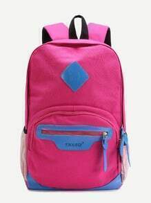 Hot Pink Canvas Front Zipper Double Strap Casual Backpack
