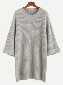 Grey Dropped Shoulder Seam Cuffed Sweater Dress