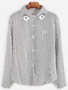 Vertical Striped Embroidered Collar Button Shirt