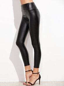 Black Faux Leather Button Embellished Legging