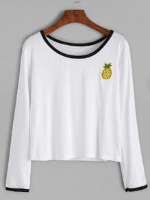 White Contrast Trim Pineapple Embroidery Patch Crop T-shirt