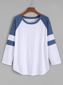 Color Block Raglan Sleeve T-shirt