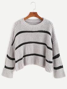 Heather Grey Striped Dropped Shoulder Seam Crop Sweater