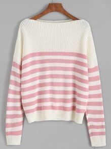 Pink Striped Dropped Shoulder Seam Sweater