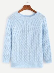 Sky Blue Cable Knit Sweater
