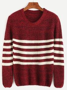 Burgundy Striped Casual Sweater