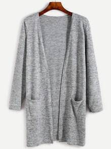 Heather Grey Pockets Long Cardigan