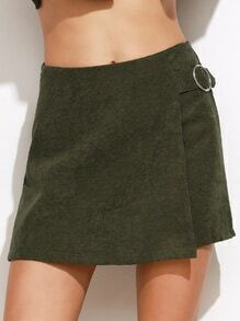 Army Green Ring Accent Asymmetric Skort With Zip Detail