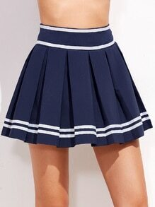 Blue Striped Trim Pleated A Line Skort
