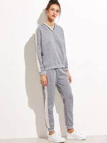 Light Grey Contrast Panel Hooded Sweatshirt With Drawstring Pants