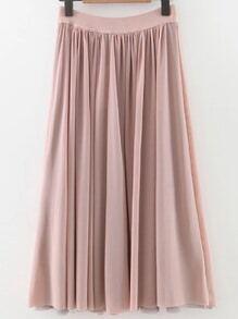 Pink Pleated Elastic Waist Midi Skirt
