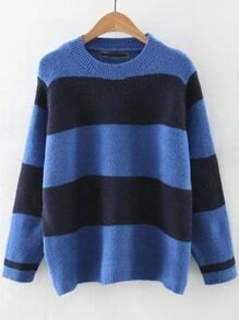 Blue Color Block Round Neck Sweater