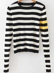 Black Striped Slit Sleeve Crop Knitwear