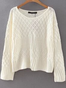 White Diamond Pattern Round Neck Sweater