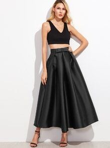 Black Bow Trim Pleated Long Skirt