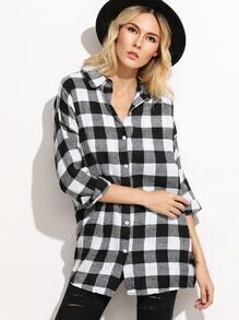 Check Plaid Drop Shoulder Shirt