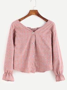 Pink Plaid Boat Neck Button Front Blouse