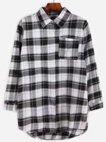 Gingham High Low Pocket Shirt
