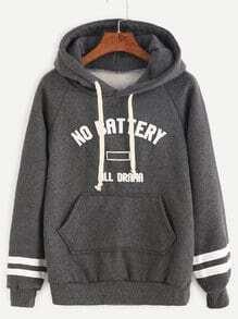 Dark Grey Varsity Print Raglan Sleeve Sweatshirt